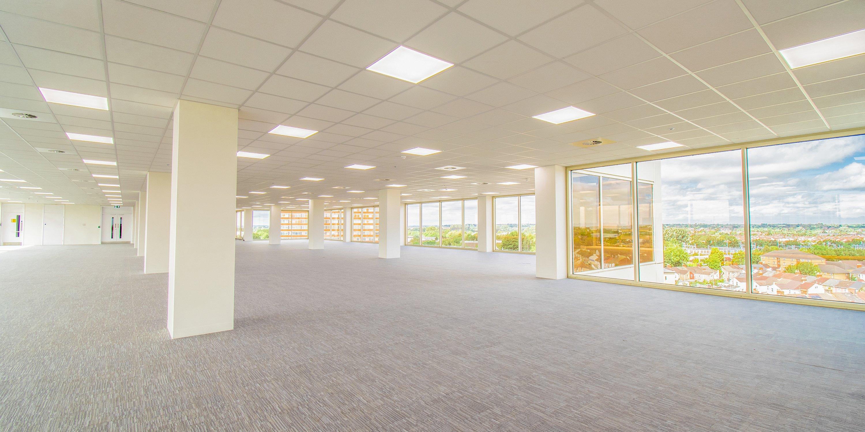 Interior shot of open plan 7th floor in 3 Newbridge Square overlooking Swindon town centre